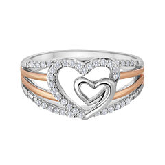 ForeverMine® 1/5 CT. T.W. Diamond Two-Tone Double-Heart Ring