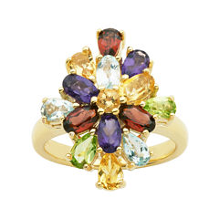 Multi-Gemstone 18K Yellow Gold Over Sterling Silver Cluster Ring