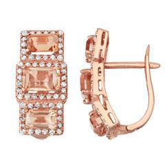 Simulated Morganite Quartz And 5/8 C.T. T.W.Diamond 10K Rose Gold Earrings