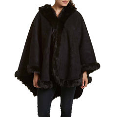 Excelled® Faux-Shearling Cape