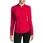 Worthington® Long-Sleeve Button-Front Oxford Shirt