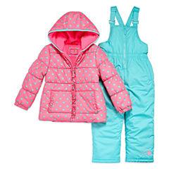 Pink Platinum Heavyweight Hearts Snow Suit-Preschool Girls