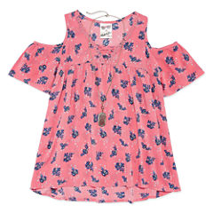 Self Esteem Cold Shoulder Print Top w/ Necklace - Girls' 7-16