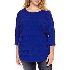 a.n.a® Long-Sleeve Printed Sweater - Plus