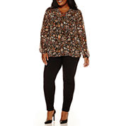 a.n.a® Long-Sleeve Lace-Front Peasant Blouse or Pieced Pleather Leggings - Plus
