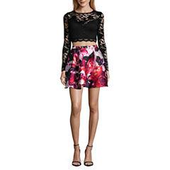 B. Darlin Lace Long Sleeve Party Dress-Juniors