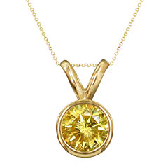 1/2 CT. T.W. Color-Enhanced Yellow Diamond Solitaire Pendant Necklace