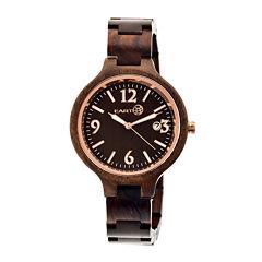 Earth Wood Nodal Dark Brown Bracelet Watch With Date Ethew2002