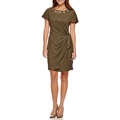 Robbie Bee® Short-Sleeve Suede Grommet-Neck Side-Tie Sheath Dress - Petite