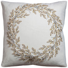Rizzy Home Holiday Wreath Cotton Duck Square ThrowPillow