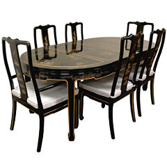 Oriental Furniture Hand Painted Lacquer 7-pc. OvalDining Set