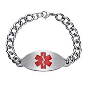 Personalized Stainless Steel Medical ID Red Oval Bracelet