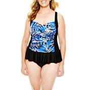 Delta Burke® Ruffled-Skirt One-Piece Swimdress - Plus