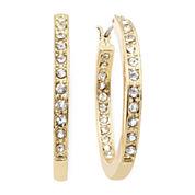 Monet® Crystal Gold-Tone Hoop Earrings