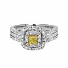 Womens 1 CT. T.W. Round Yellow Diamond 14K Gold Engagement Ring