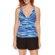 Jamaica Bay® Stripe Surplice V-Neck Tankini Swim Top or Board Shorts