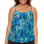 Jamaica Bay® Photo Leaf Triple-Tier Swim Top