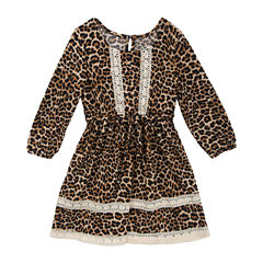 Rare Editions Long Sleeve Cheetah A-Line Dress - Preschool Girls