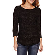a.n.a® Long-Sleeve Novelty Stitch Sweater - Petite
