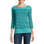 Liz Claiborne® 3/4-Sleeve Button-Back Stripe Tee
