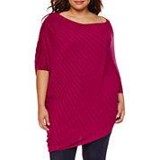 Boutique+ Elbow-Sleeve Scoop Neck Asymmetric Sweater - Plus