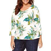 Liz Claiborne® 3/4-Sleeve V-Neck Side-Ruched Top - Plus