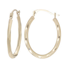 10K Gold Twist Oval Hoop Earrings