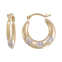 Two-Tone Heart-Etched Hoop Earrings