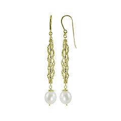 Cultured Freshwater Pearl & Brilliance Bead Drop Earrings