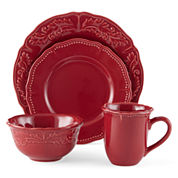 JCPenney Home™ Amberly Cranberry Red 16-pc. Dinnerware Set