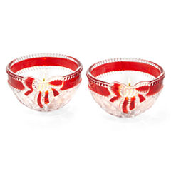 Mikasa® Ruby Ribbon Set of 2 Glass Tealight Candle Holders