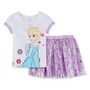 Disney Collection Frozen Elsa Top and Skirt - Girls 2-10