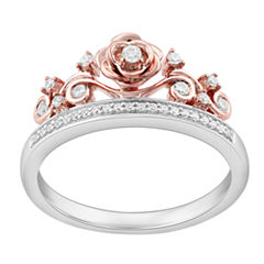 Enchanted By Disney Womens 1/6 CT. T.W. Genuine White Diamond Sterling Silver Cocktail Ring