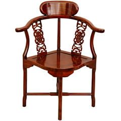 Oriental Furniture Rosewood Corner Armchair
