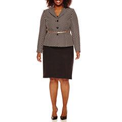 Isabella Long Sleeve Dot Skirt Suit Set-Plus