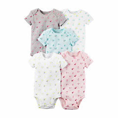 Carter's® 5-pk. Short-Sleeve Floral Cotton Bodysuits - Baby Girls newborn-24m
