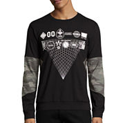 Urban Nation Long-Sleeve Camo-Print Burnout Shirt