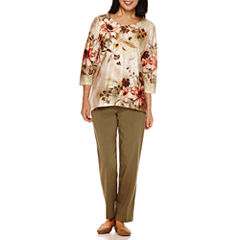 Alfred Dunner® Cactus Ranch 3/4 Sleeve Texture Print Top And Pant