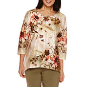 Alfred Dunner® Cactus Ranch 3/4 Sleeve Texture Print Top