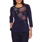 Alfred Dunner Sierra Madre 3/4 Sleeve Embroidery Top
