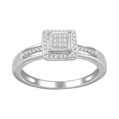 1/7 CT. T.W. Diamond Princess-Style Ring
