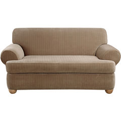 SURE FIT® Stretch Pinstripe 2-pc. T-Cushion Sofa Slipcover