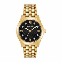 Bulova Mens Gold Tone Bracelet Watch-97d113
