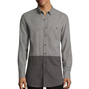 Arizona Long-Sleeve Longer-Length Colorblock Flannel Shirt