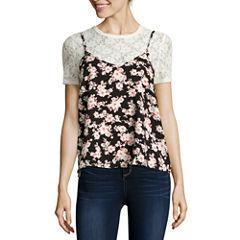 Self Esteem® Short-Sleeve Floral Lace Layered Top - Juniors