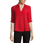 by&by Long-Sleeve Crepe Roll-Tab Button-Front Blouse or Millennium Skinny Pants