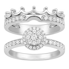 Enchanted By Disney Womens 1/2 CT. T.W. Genuine Diamond 14K Gold Bridal Set