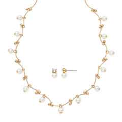 Vieste® Simulated Pearl Earring and Station Necklace Set