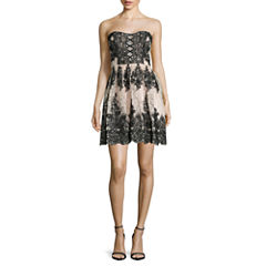 Trixxi® Strapless Floral Sequin Party Dress - Juniors