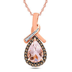 Pink Morganite Pear 10K Gold Pendant